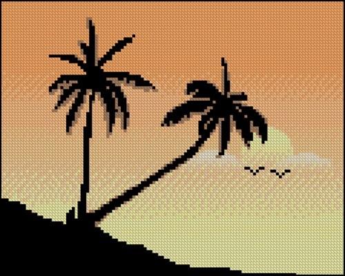 Закат с пальмами