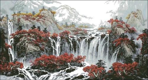 Китайская живопись - Водопад в горах