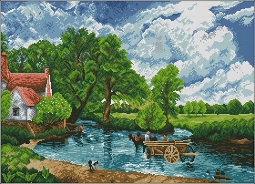 Сельский пейзаж с телегой