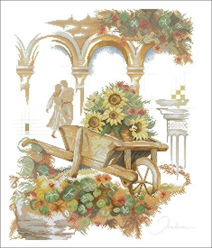 Kruiwagen met zonnenbloemen