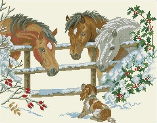 Лошадки и щенок