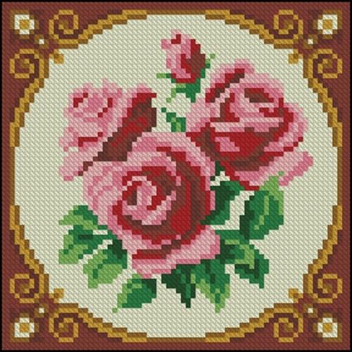 Розовые розы в круге