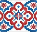 Геометрический орнамент сине-красный