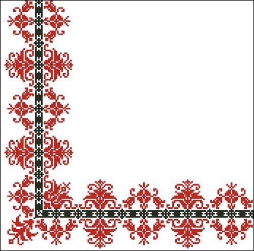 Уголок для скатерти красный с черным
