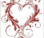 Красное сердечко контурами