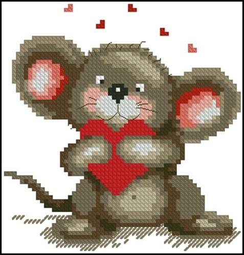 Мышка с красным сердечком