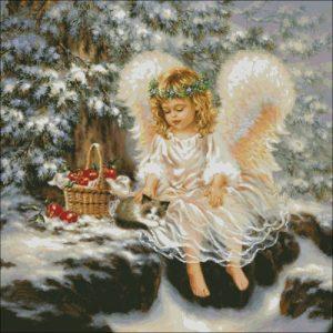Ангелочек в зимнем лесу