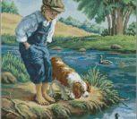 Мальчик с собакой у речки