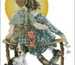 Закат, мальчик с девочкой на скамейке