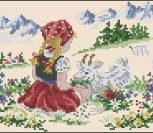 Девочка на лугу с козленком