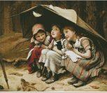 Дети под зонтом