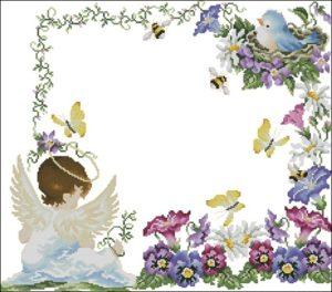 Рамка квадратная с ангелочками для детской метрики