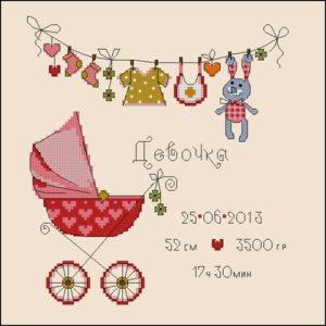 Метрика для новорожденных с розовой коляской