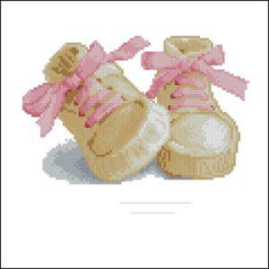 Метрика крестиком пинетки (для девочки)