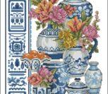 Jarones Azules y flores