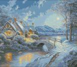 Зимний пейзаж «Ночь и домик»