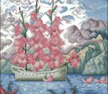 Парусник и розовыми цветами