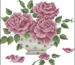 Викторианская вышивка крестиком розы
