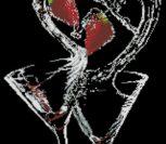 Бокалы с вишней на черной канве