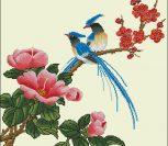 Экзотические птицы на ветке с цветами 2