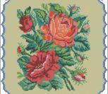 Подушка с цветами (реконструкция старой вышивки)