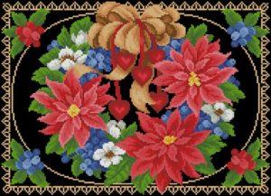 """Подушка """"Яркие цветы на черном"""""""
