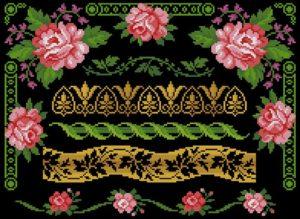 """Подушка """"Цветочный орнамент на чёрном"""""""
