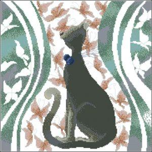 Черная кошка с бабочками (подушка)