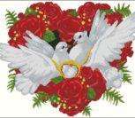 Свадебная открытка с голубями и кольцами