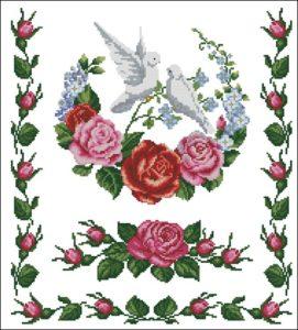 Рушник с цветами и голубями