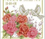 Свадебная метрика с розами и голубями