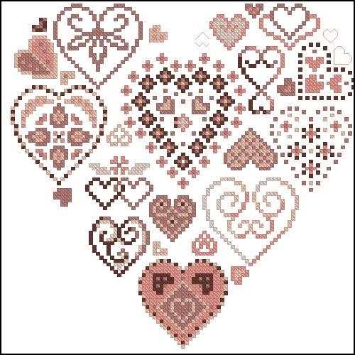 Орнамент сердца из сердец