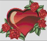 Красное сердце в розах