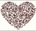 Сердечко с цветочным узором, монохром