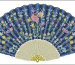 Японский веер голубой