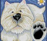 Подушка с белой собачкой