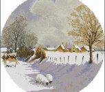 Зимний пейзаж в круге