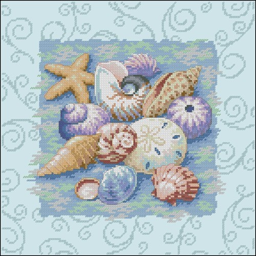 Shells on Blue