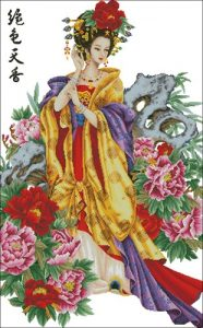 Geisha in flowers