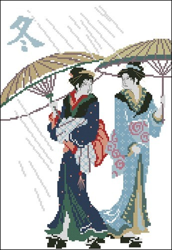 Японки под дождем
