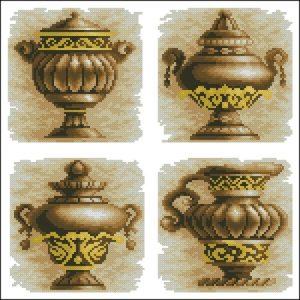 4 старинные вазы