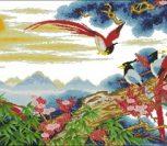 Восточный пейзаж с экзотическими птицами