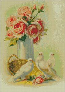 Голуби возле вазы с розами
