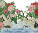 Пионы и птицы, китайская живопись
