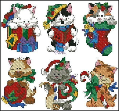 Christmas kitty ornaments