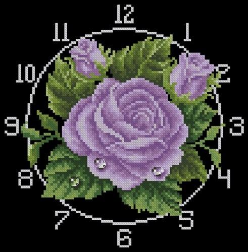 Часы с лиловыми розами