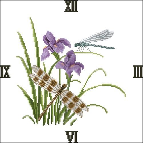 """Часы """"Стрекозы и цветы"""""""