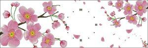 """Триптих """"Сакура с часами"""""""
