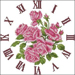 Часы с нежными розами