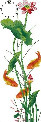 Лилии, рыбки и часы